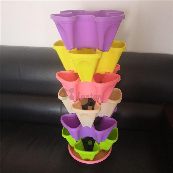 PP vertical stacking flower pots