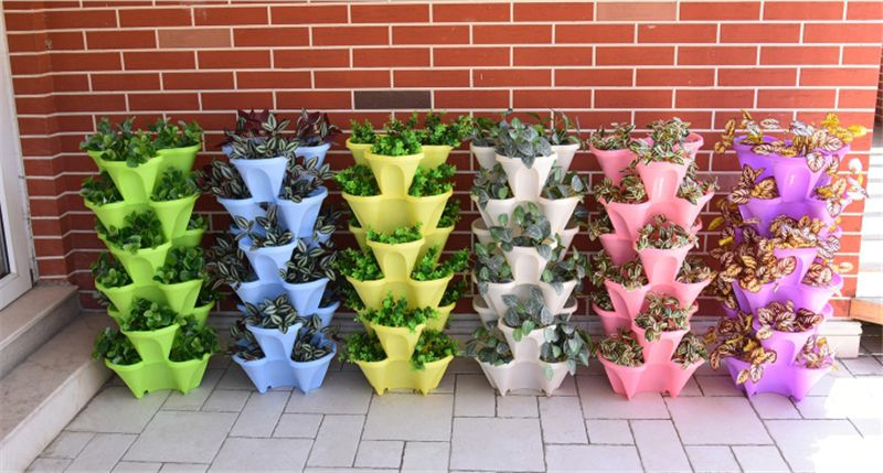 Small Four Petals Stacking Flower Pots